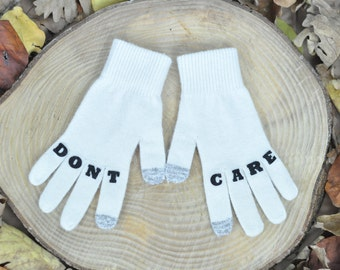 "Womens Gloves , Touchscreen Gloves , Texting Gloves , Winter Accessories , Handmade , Finger Tattoo , ""DONTCARE"" Tattoo with (Black) Font"