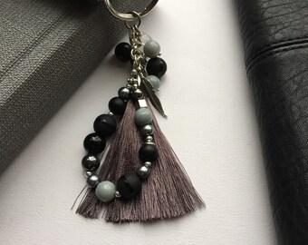 Beaded keychain with silky tassel
