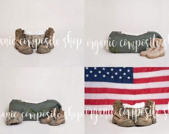 Set of 4 Digital Props/Backdrops {Military Army Boots Flag Bag Helmet}