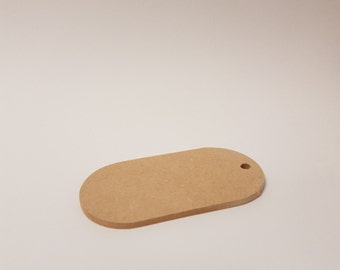 10x5cm Oval Tag - Decorate yourself - Present Tag - Plain MDF Board