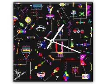 City ROBOTICS-plexiglass design wall clock retro printed with original designs