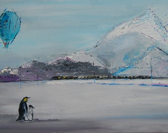 Penguins original oil painting on canvas palette knife ready to hang