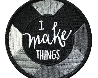 I make things - Iron on embroidered patch Black