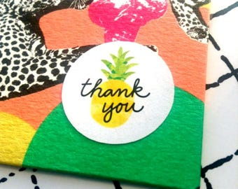 96 thank you pineapple stickers. Pineapple seals. Thanks Envelope seals pineapple fruit sticker. Pineapple envelope seal. Thank you Wedding