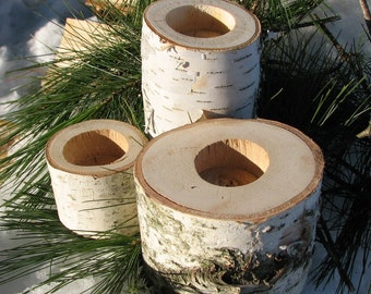 White Birch Candle Holders - Set of 3 - Between 2 and 4 inch Diameter - Fixed Shipping