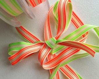 Neon stripe ribbon, narrow ribbon, bow ribbon, double sided ribbon, fun and bright, cheerleading