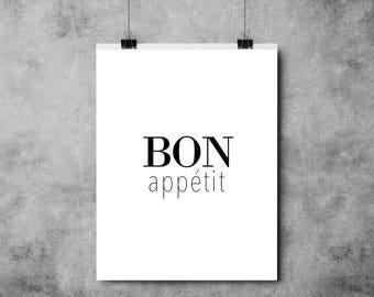Bon Appetit - A4/A3 - Black and White - Typography - Print/Poster/Kitchen