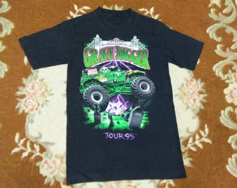 vintage GRAVE DIGGER monster jam truck t shirt racing tean tour 95 fits to size S