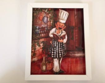 3D Cook Picture/ 3D Cook in a Shadow Box/ Mixed Media