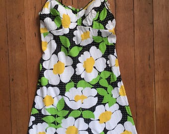 vintage 1960s Jantzen dress // 60s swimwear floral mini dress