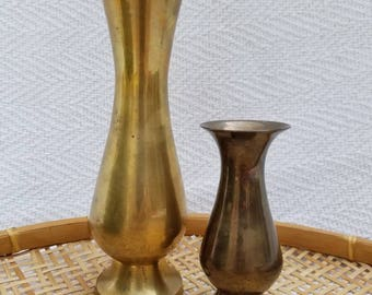 Pair of vintage brass bud vases