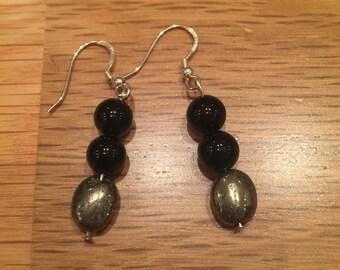 Triple Bead Charm Earrings