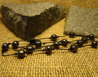 Shungite necklace combo box and beads on a string of Karelia
