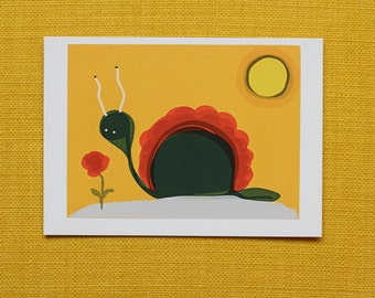 "Postcard ""Flower and Snail"""