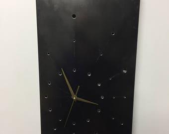 """Clock """"RIDDLED 02"""" 42x27cm 17 """"x 11"""" graphite, gunmetal, industrial, minimalist, geometric, iron, metal, steel"""
