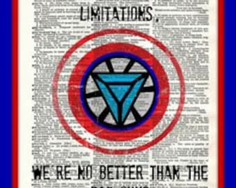 Buy 2 Get 1 Free Mix & Match Accept Limitations Iron Man Captain America The Avengers  Quote Fan Art