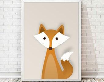 Sheet printable infant Fox - Fox print, animal nursery art.