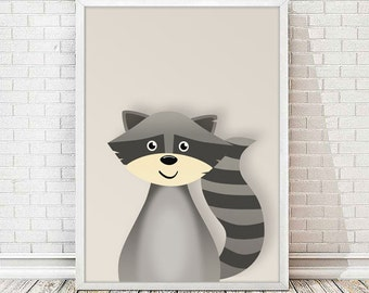 Child printable sheet raccoon-raccoon print, nursery animal art.