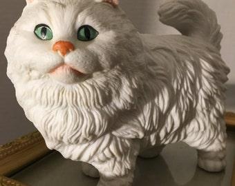 Vintage White persian Cat Figurine.