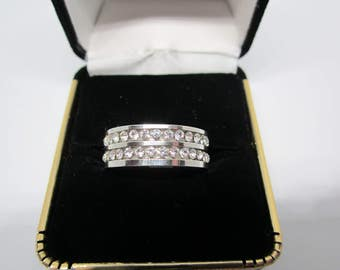 Silver Stainless Steel Cubic Zirconia Ring with 2 Row Inlay - Many Sizes Available - Box Included - FREE SHIPPING