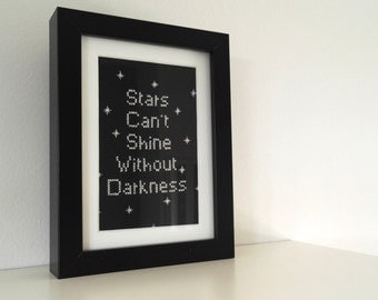 Stars Cant Shine Without Darkness Inspirational Framed Cross Stitch
