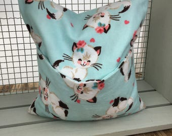 Pretty Kitten corn bag. Cornbags. Handmade reusable corn bag. Heating/cooling pad. Microwave heat pad.
