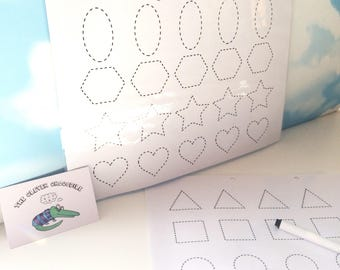 Shape tracing pages, Shape tracing, Learn to draw shapes, EYFS, Homeschool supplies, Wipe clean, Dry wipe pen, tracing sheets