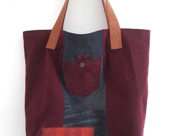 Jean bag and bordeaux #J05