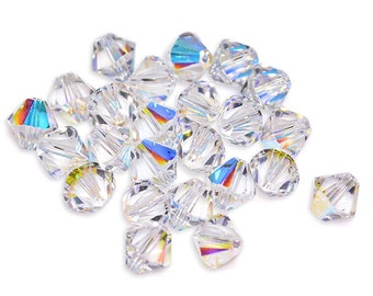 Swarovski Crystal Bicone Crystal AB Beads 5301/5328- Available in 3mm, 4mm, 6mm, 8mm