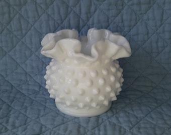 """Fenton Miniature Hobnail """"Double Crimped"""" Vase, (1956-1980)"""