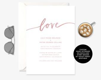 Printable Love Ceremony Invitation, Ceremony Invitation, Ceremony Printable Invitation, Printable Ceremony Invite, Love Invitation, Blush