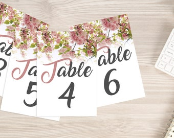 Floral tables - Decoration wedding - Rose and grey numbers