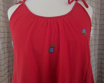 1970's Red Summer Dress Floral Embroidery/Boho