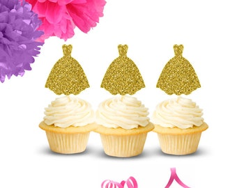 Wedding Dress Cupcake Toppers(Set of 12), Bridal Shower Cupcake Toppers, Engagement Party, Bridal Shower, Bachelorette Party, Wedding Topper