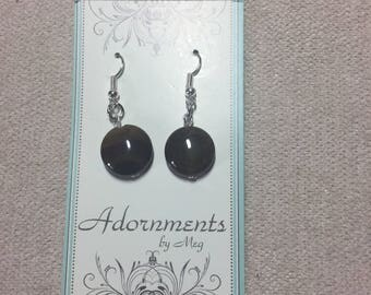 Round Coin Brown Agate Earrings