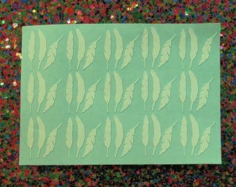 45 feather vinyl nail decal for nail art available in 16 colours.