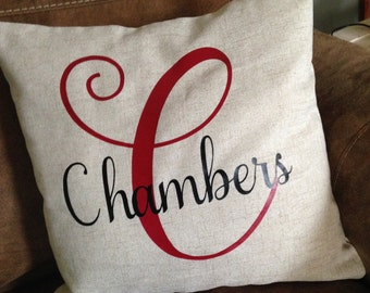 Personalized Throw Pillow with Vinyl
