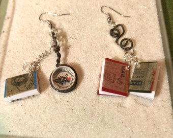 Earrings small books and compass. The explorers loops!