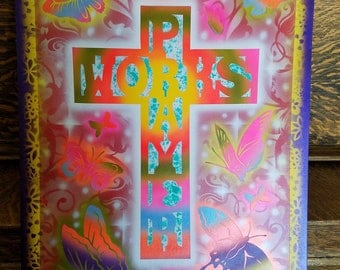 Air brushed painting, spring colors, cross, Prayer Works