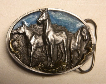 NEW Trio Wild Mustang Bronco Horse Cowboy Western Belt Buckle Belts Buckles C&J