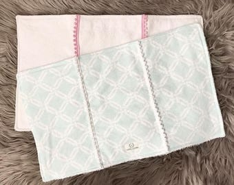 Set of mint and white burp cloths
