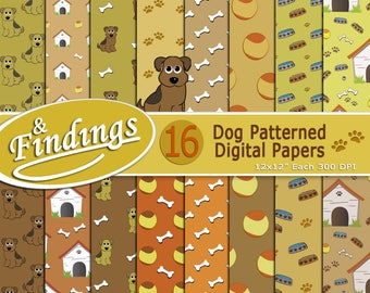 Instant Download Dog Patterned Digital Paper ready to Print, Brown Beige and Orange paper set with Paws, Puppies, Bones, Doghouse, Dog Bowls