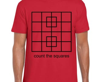 Geek TShirt - Count the Squares Mens Womens Graphic Tee