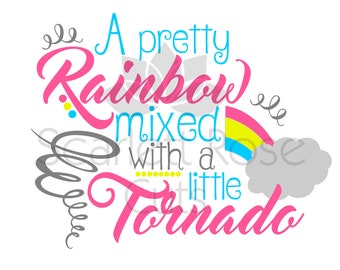 A Pretty Rainbow mixed with a little Tornado SVG cut file Summer Spring design silhouette cameo and cricut