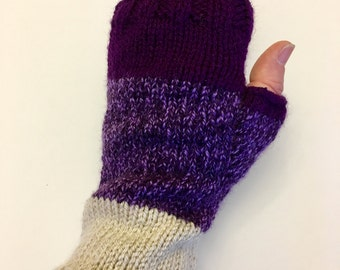 Purple block fingerless gloves/ wrist warmers