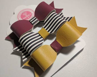 HANDMADE // Leatherette Bows // Mix & Match // Burgundy, Mustard Yellow, Black White Stripe Bows // Hair Bow Triple Set // Smart School Bows