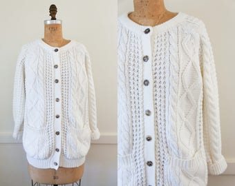 Vintage Fisherman's Knit Cardigan/ Baggy Cardigan Cable Knit Cardigan