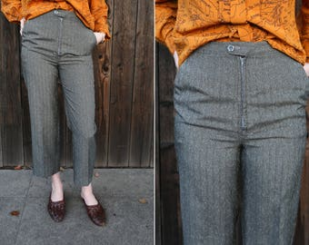 French High Waisted Cropped Trousers