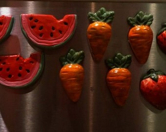 Hand-painted ceramic fruit & veggie magnets