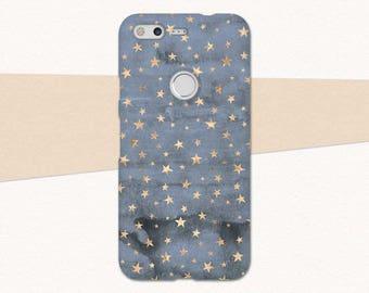Blue Gold Stars Google Pixel Phone Case, Stars Pixel Case, Blue Pixel Case, Google Pixel XL Case, Stars Pixel XL Case, Google Pixel 2 XL